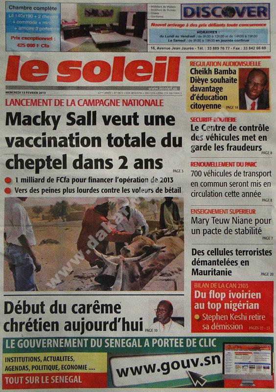 A la Une du Journal Le Soleil du mercredi 12 février 2013