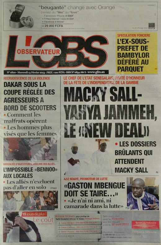 A la Une du Journal L'Observateur du mercredi 13 février 2013