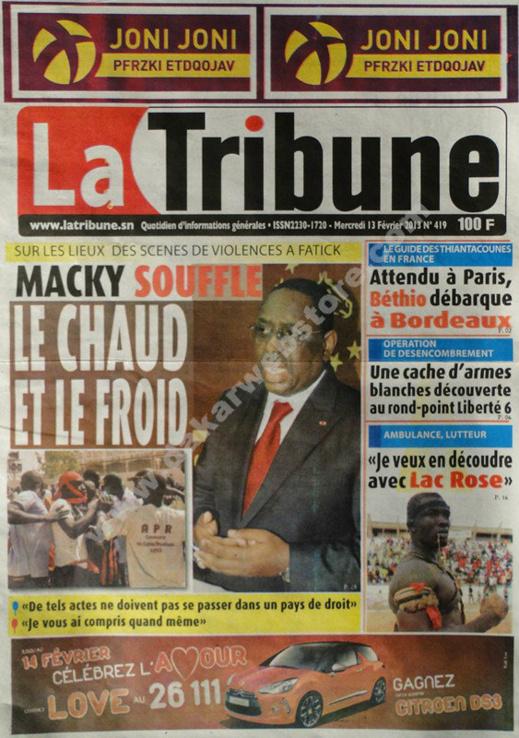 A la Une du Journal La Tribune du mercredi 13 février 2013