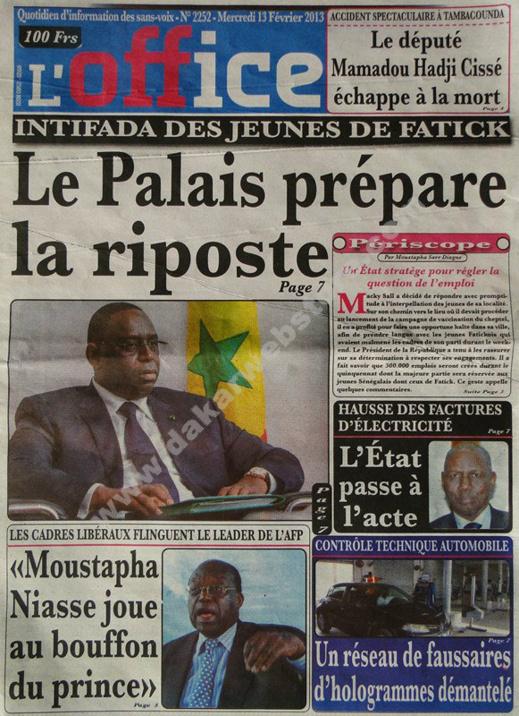 A la Une du Journal L'Office du mercredi 13 février 2013