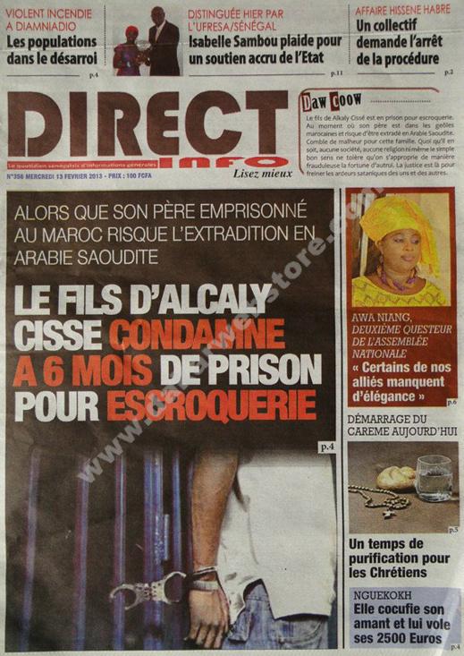 A la Une du Journal Direct info du mercredi 13 février 2013