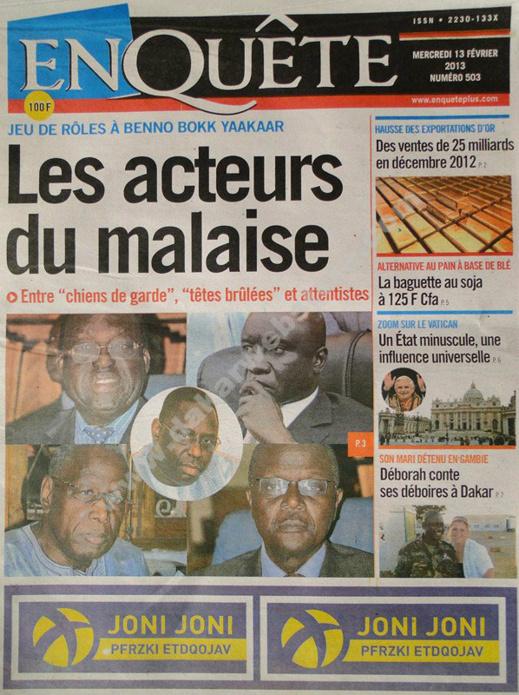A la Une du Journal L'EnQuête du mercredi 13 février 2013