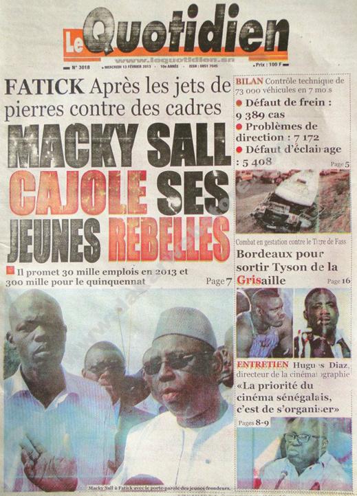 A la Une du Journal Le Quotidien du mercredi 13 février 2013