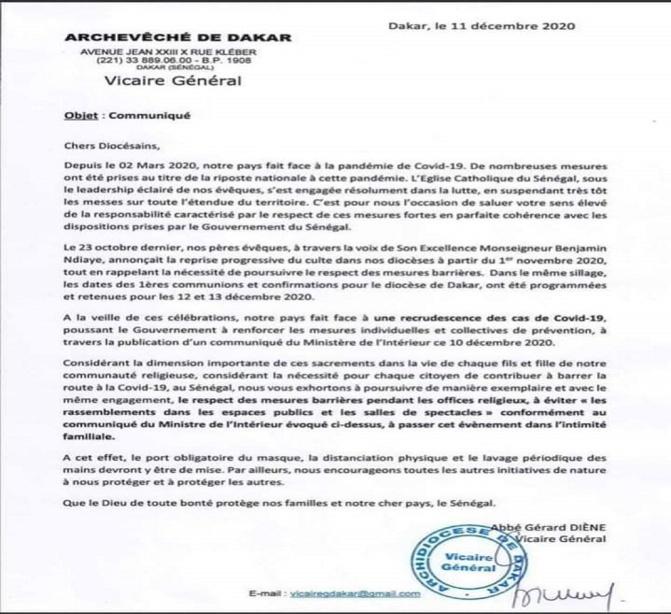 Prémices d'une deuxième vague de COVID-19: L'appel de l'Archevêché de Dakar aux fidèles catholiques