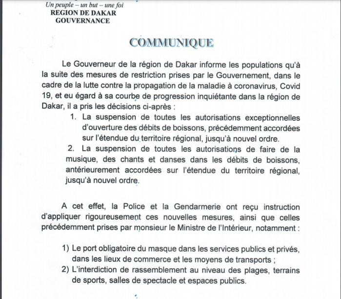 Nouvelles mesures de restriction: Le Gouverneur de Dakar hausse le ton et annonce des sanctions