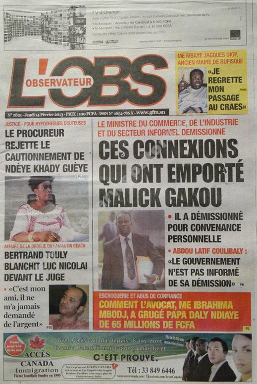 A la Une du Journal L'Observateur du jeudi 14 février 2013