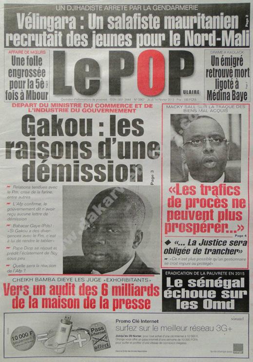 A la Une du Journal Le Populaire du jeudi 14 février 2013