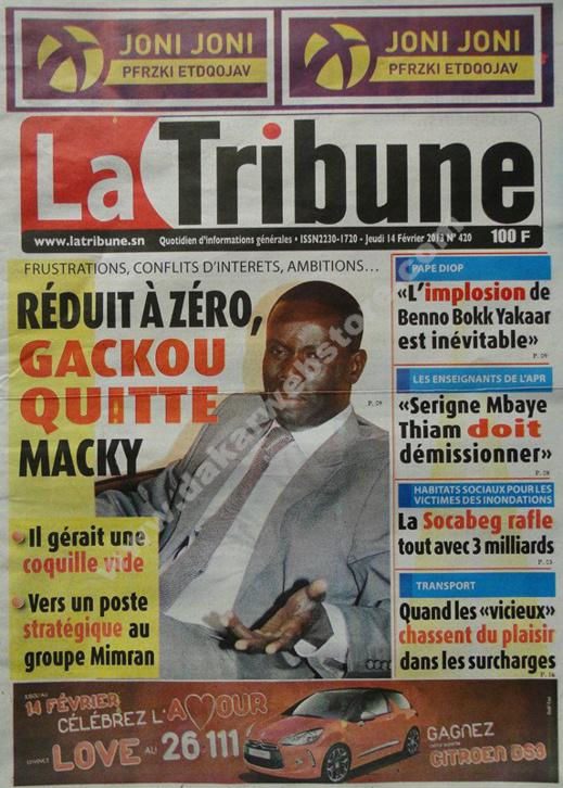 A la Une du Journal La Tribune du jeudi 14 février 2013