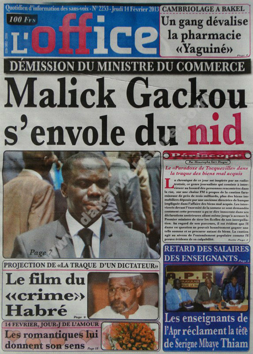 A la Une du Journal L'Office du jeudi 14 février 2013