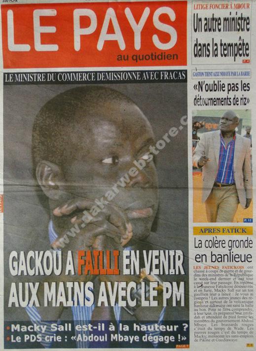 A la Une du Journal Le Pays du jeudi 14 février 2013