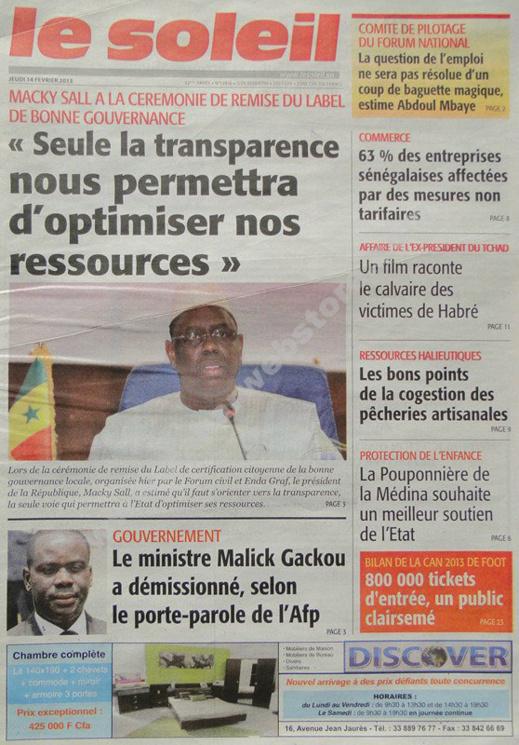 A la Une du Journal Le Soleil du jeudi 14 février 2013