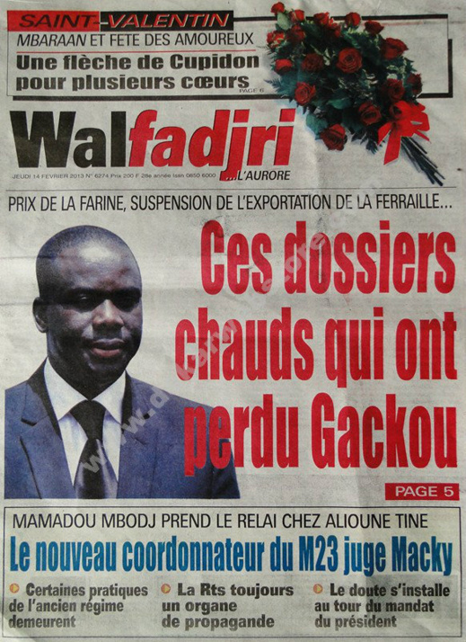 A la Une du Journal Walfadjri du jeudi 14 février 2013