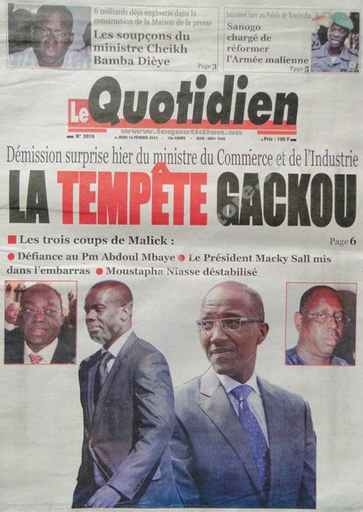 A la Une du Journal Le Quotidien du jeudi 14 février 2013