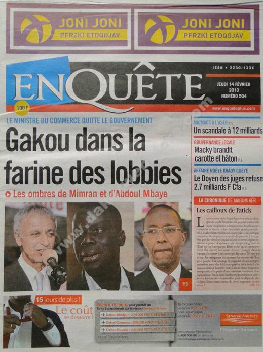 A la Une du Journal EnQuête du jeudi 14 février 2013