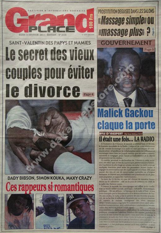 A la Une du Journal Grand Place du jeudi 14 février 2013