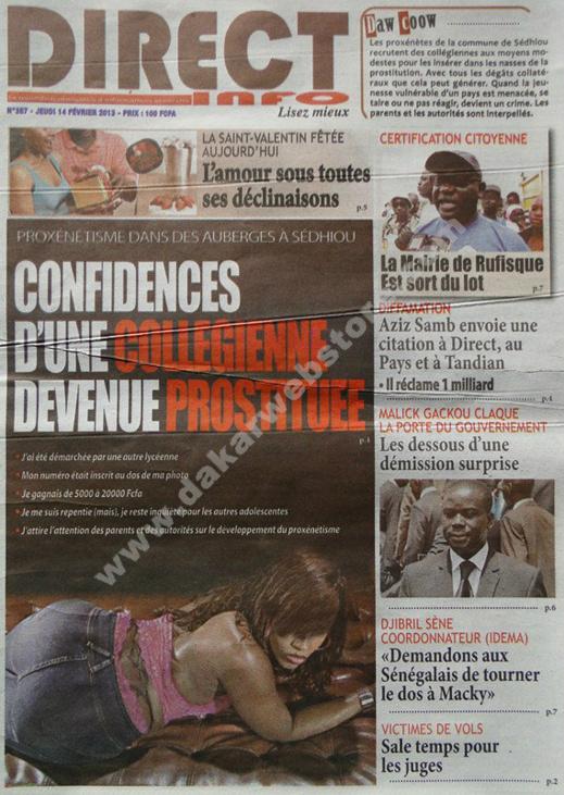 A la Une du Journal Direct Info du jeudi 14 février 2013