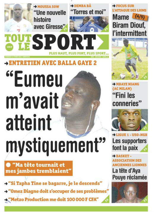 A la Une du Journal Tout Le Sport du vendredi 15 février 2013