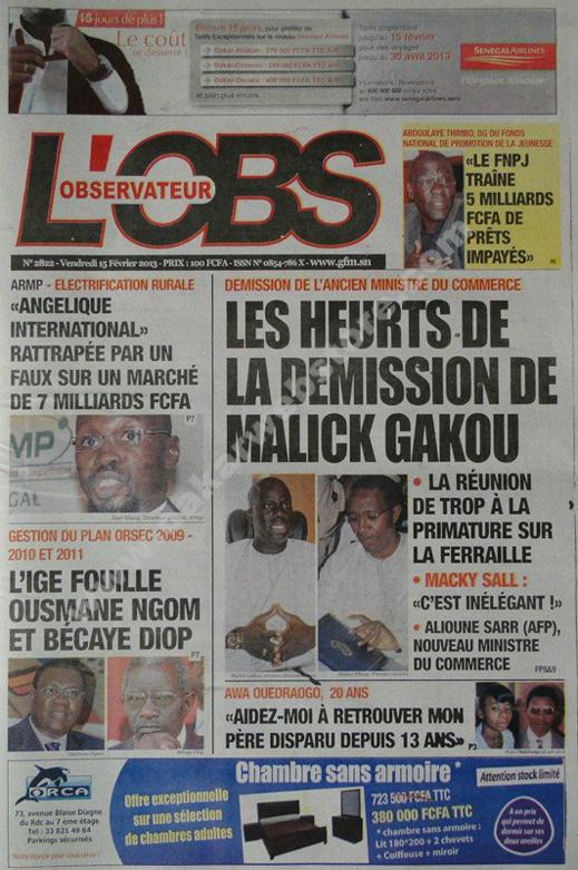 A la Une du Journal L'observateur du vendredi 15 février 2013