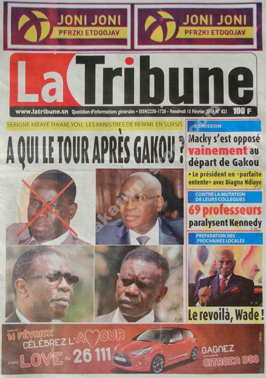A la Une du Journal La Tribune du vendredi 15 février 2013