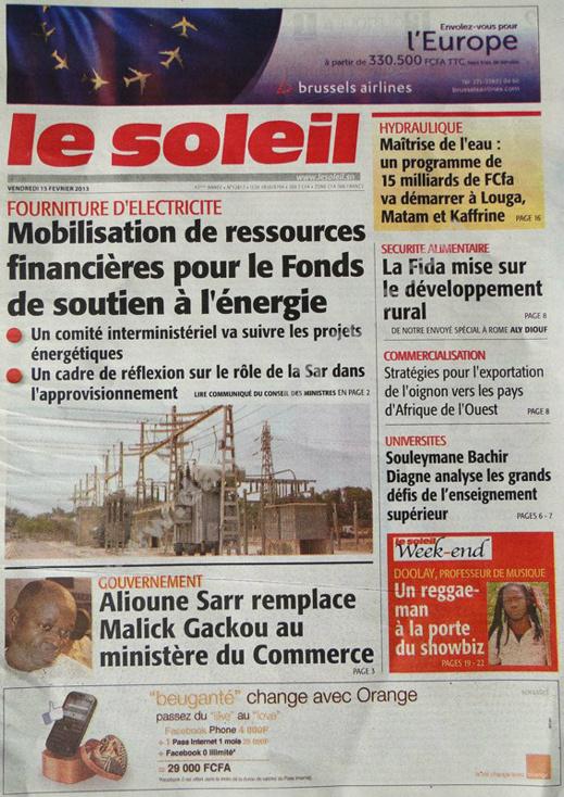 A la Une du Journal Le Soleil du vendredi 15 février 2013
