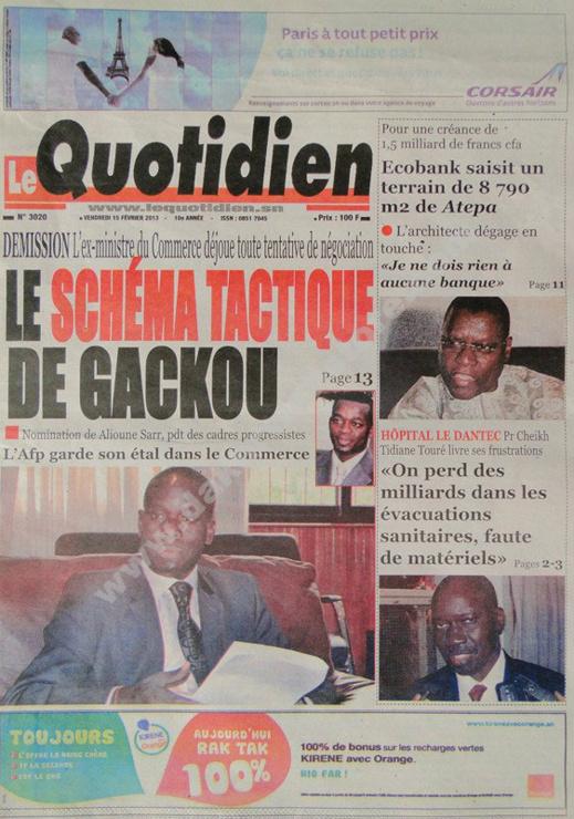 A la Une du Journal Le Quotidien du vendredi 15 février 2013