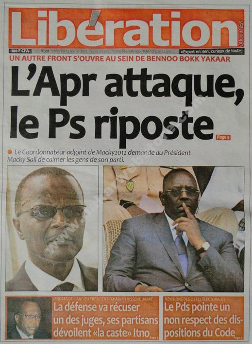 A la Une du Journal Libération du vendredi 15 février 2013