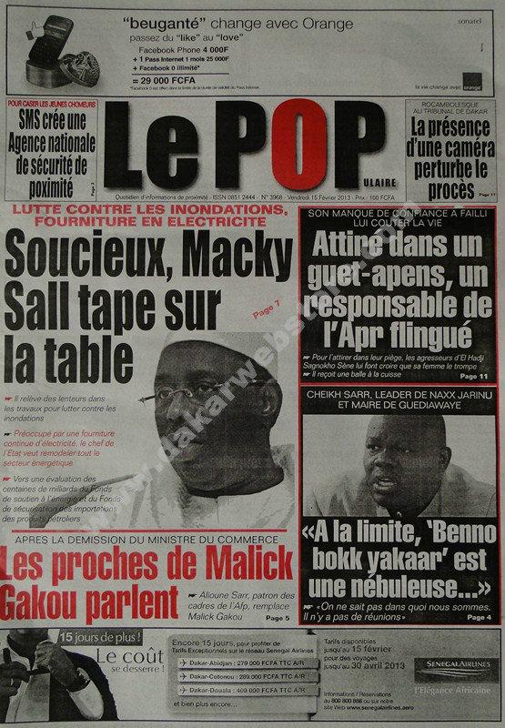 A la Une du Journal Le Populaire du vendredi 15 février 2013