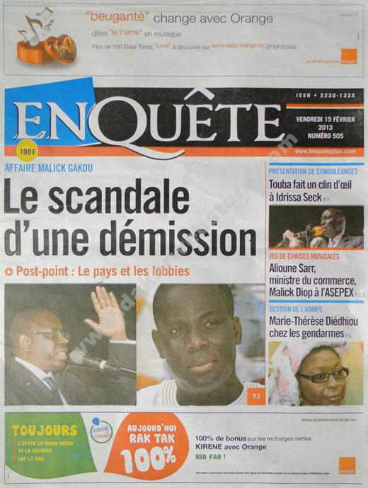 A la Une du Journal EnQuête du vendredi 15 février 2013