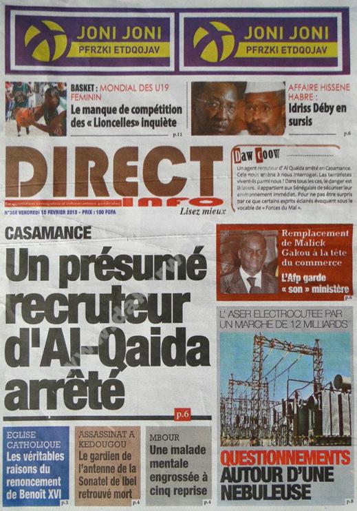 A la Une du Journal Direct Info du vendredi 15 février 2013