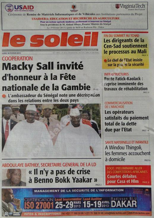 A la Une du Journal Le Soleil du lundi 18 février 2013