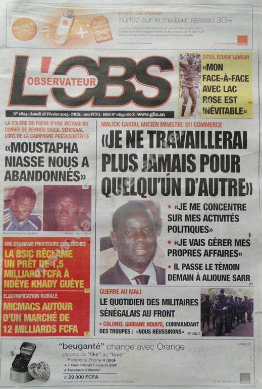 A la Une du Journal L'Observateur du lundi 18 février 2013