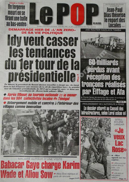 A la Une du Journal Le Populaire du lundi 18 février 2013