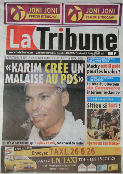 A la Une du Journal La Tribune du lundi 18 février 2013