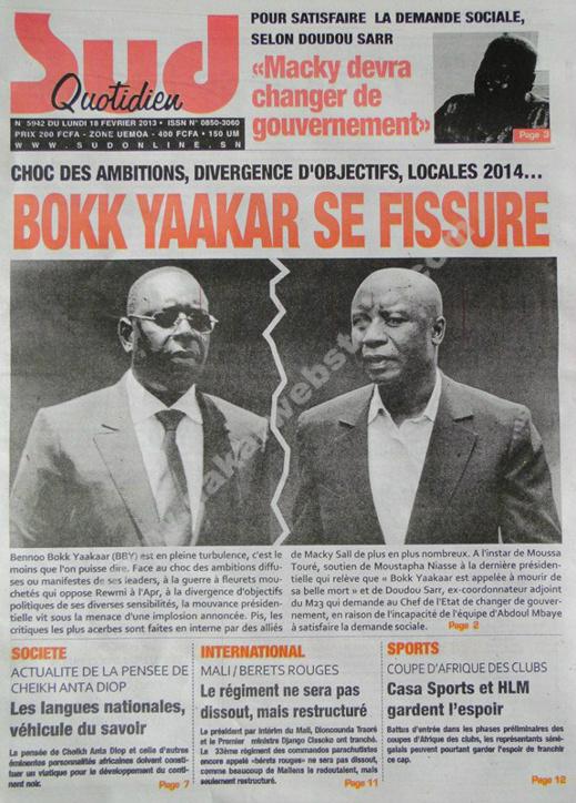 A la Une du Journal Sud Quotidien du lundi 18 février 2013