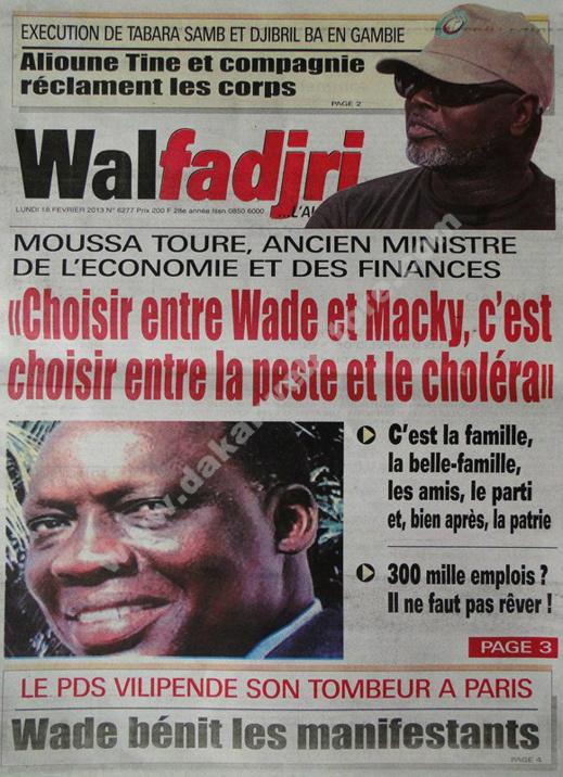 A la Une du Journal Walfadjri du lundi 18 février 2013