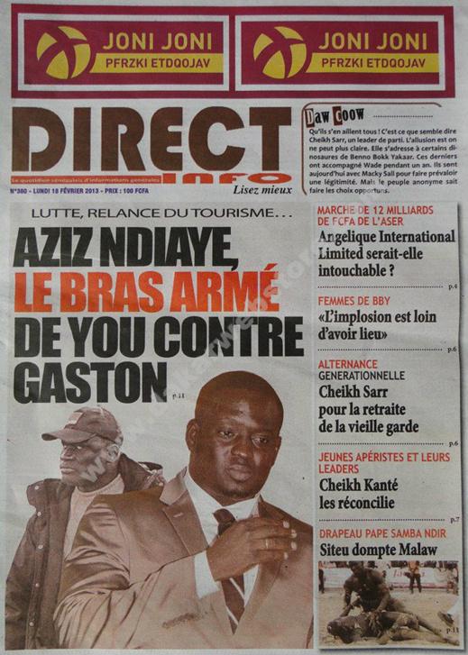 A la Une du Journal Direct info du lundi 18 février 2013