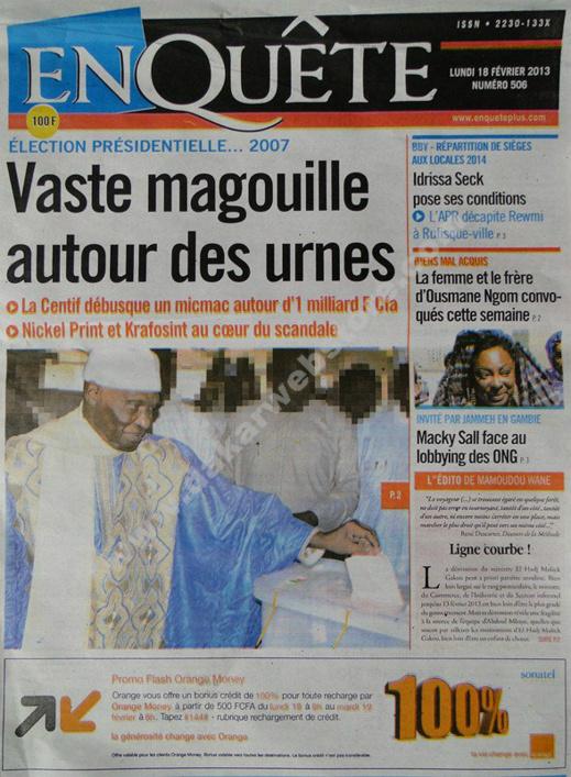 A la Une du Journal EnQuête du lundi 18 février 2013