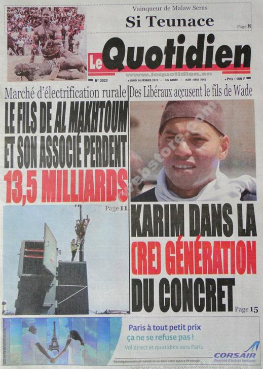 A la Une du Journal Le Quotidien du lundi 18 février 2013