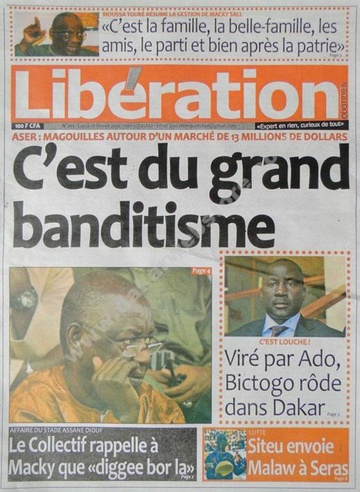 A la Une du Journal Libération du lundi 18 février 2013