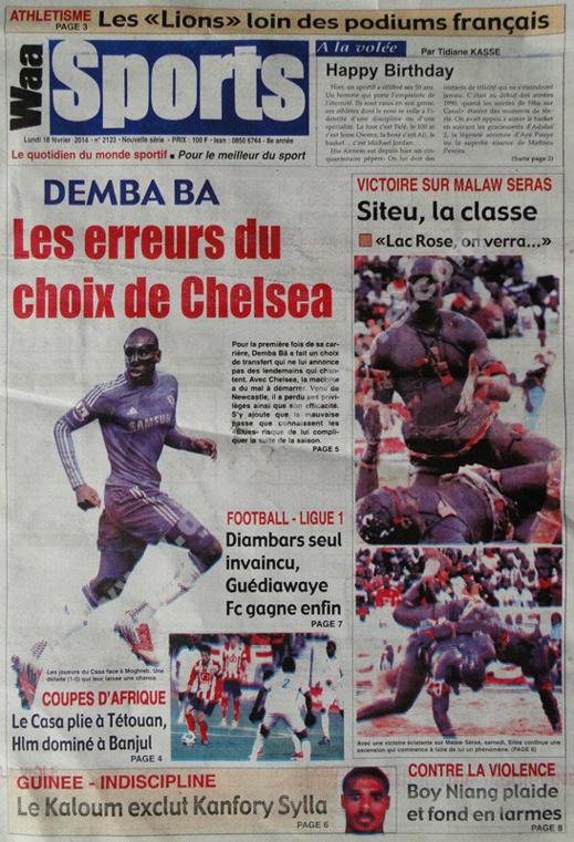 A la Une du Journal Waa Sports du lundi 18 février 2013
