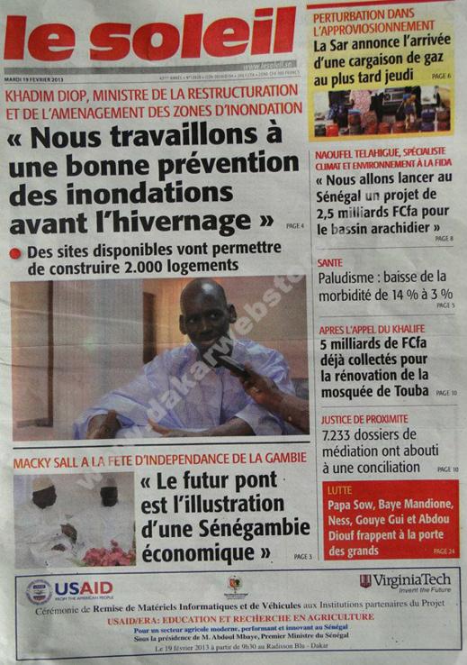 A la Une du Journal Le Soleil du mardi 19 février 2013