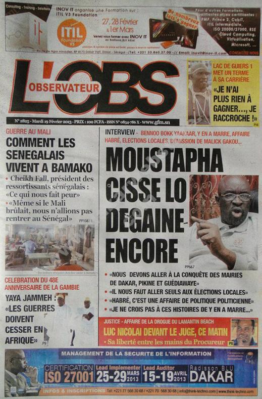 A la Une du Journal L'Observateur du mardi 19 février 2013