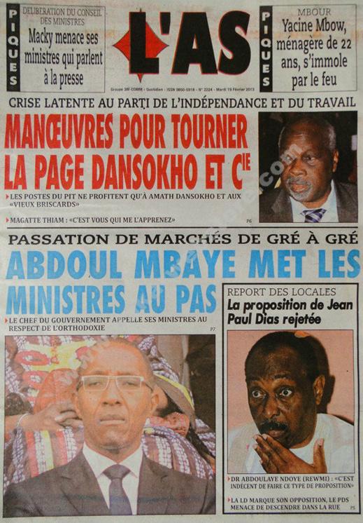 A la Une du Journal L'As du mardi 19 février 2013