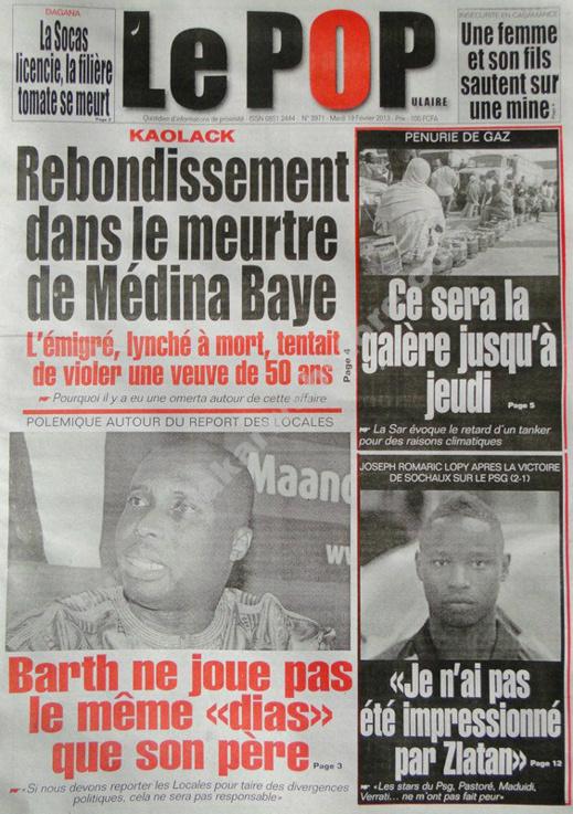 A la Une du Journal Le Populaire du mardi 19 février 2013