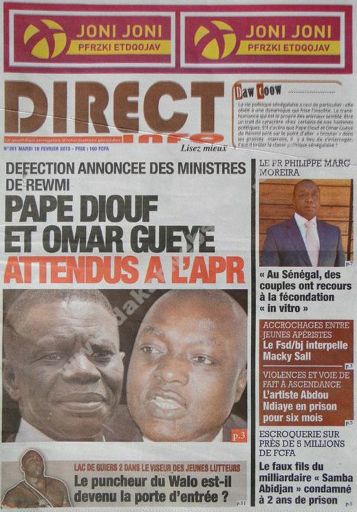 A la Une du Journal Direct Info du mardi 19 février 2013