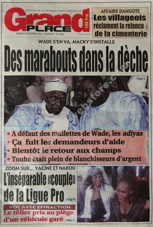 A la Une du Journal Grand Place du mardi 19 février 2013