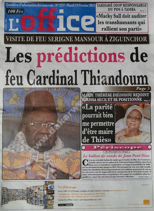 A la Une du Journal L'Office du mardi 19 février 2013