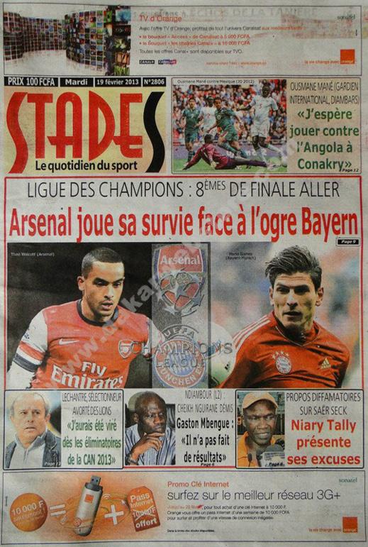 A la Une du Journal Stades du mardi 19 février 2013