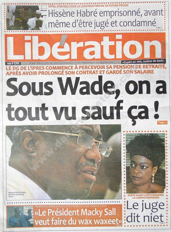 A la Une du Journal Libération du mardi 19 février 2013