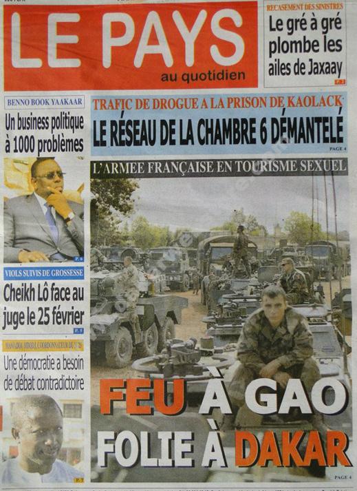 A la Une du Journal Le Pays du mardi 19 février 2013